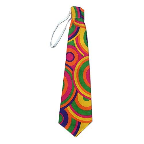 NET TOYS Bunte Krawatte Flower Power Schlips pink-grün Hippie Binder 70er Jahre Kostümzubehör Disco Tie Retro Party Clown Outfit ()
