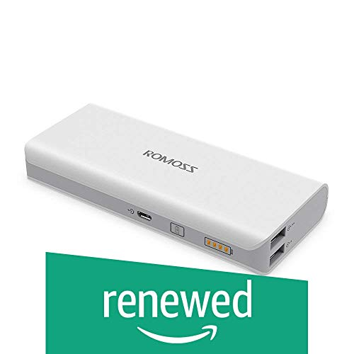(Renewed) Romoss 10000 mAh Portable Charger, Solo 5 Power Bank, Dual Output External Battery Packs Compact Slim Thin for iPhone, iPad, Samsung and More