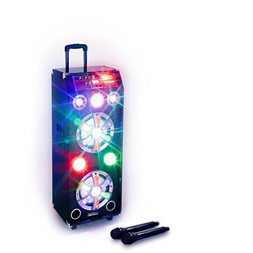 HAISER TOKIO mp3 Bluetooth Musik-Box und Lautsprecher | Mobiles Soundsystem mit Lichteffekten | PA-Anlage und Trolley mit leistungsstarkem Bass