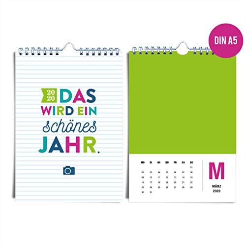 DIN A5 Wandkalender für 2020 von heaven+paper® | Bunter, fröhlicher & farbenfroher Fotokalender für 2020 | Idealer Jahreskalender zum selbst gestalten, basteln & verschenken