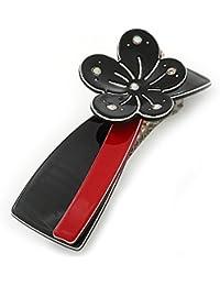 Negro/rojo cristal acrílico flor broche pelo Clip Grip - 85 mm a través de
