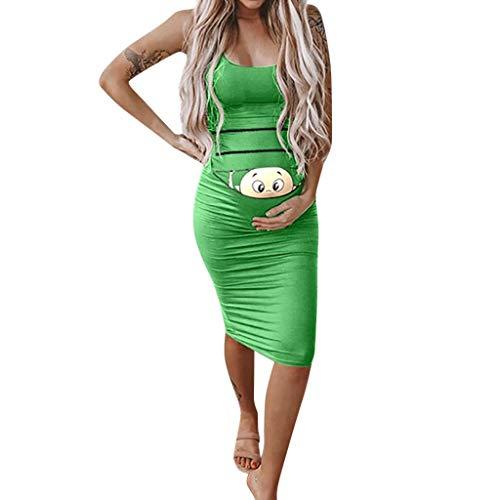 BfmyxgsUmstandsmode Dame Schwangere Frau Niedlichen Cartoon Baby Print Rock Kleid