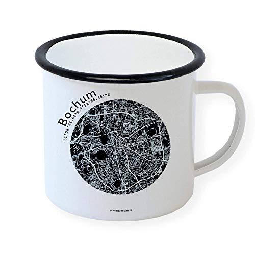 Bochum Retro Emaille-Becher Tasse, Stadtplan Design in 5 Farben, Geschenk zum Campen für Morgenmuffel Büro Kollegen