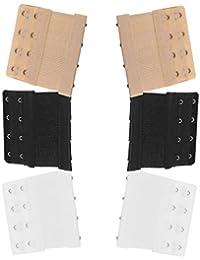 6 x Soft Comfortable Bra Strap Extenders Extensions Elastic Extender Set 2 Hooks / 3 Hooks / 4 Hooks (White, Black, Beige)