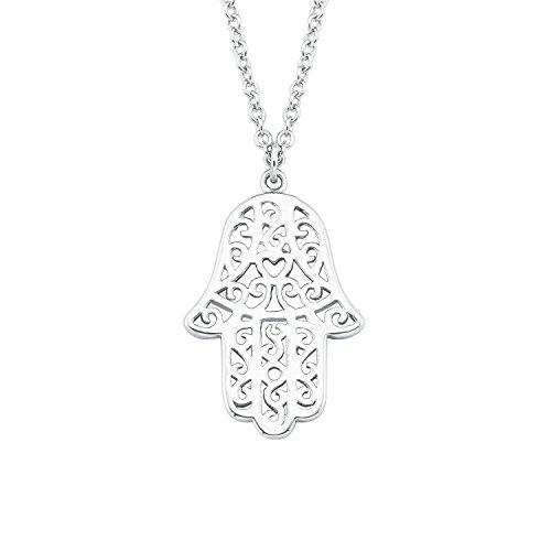 s.Oliver Damen-Kette 45 cm So Pure mit Hamsa Hand der Fatima Anhänger 925 Silber rhodiniert