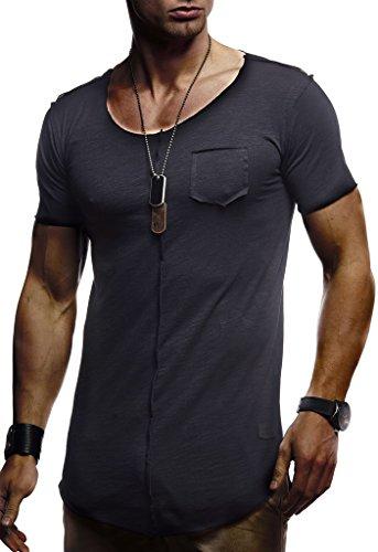 LEIF NELSON Herren Oversize T-Shirt Rundhals Basic Shirt Top Crew Neck LN6288 S-XXL; Größe L, Schwarz