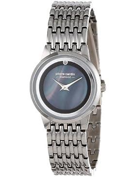 Pierre Cardin Damen Silver-Tone Diamond Accent Black Dial Armbanduhr