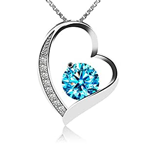 "J.Rosée Kette Damen""Ewige Liebe"" Herzkette 925 Sterling Silber 3A Zirkonia Herz Anhänger Halskette (blau)"