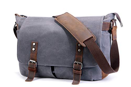 SUVOM Mens Messenger Bag, Echtes Leder Canvas Messenger Bag, Wasserdichte Laptop Messenger Bag Für 15-Zoll-Laptop, Vintage Ranzen Aktentasche Cross Body Umhängetasche Für Den Täglichen Gebrauch, Reise -