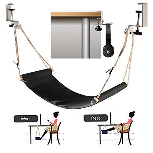 KidsHobby Fuß Hängematte Verstellbar Praktische Fußhängematte Schreibtisch Fußstütze Mit Kopfhörerhaken Zur Entspannung im Büro (Verstellbare Füße Tisch)