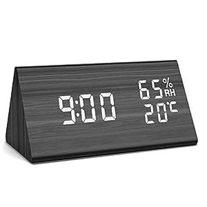 NBPOWER Wecker Digitaler – LED Wecker Uhr Holz Standuhr, Digitalwecker Tischuhr mit Sprachsteuerung/Datum/Temperatur und Luftfeuchtigkeit, für Zuhause, Schlafzimmer, Nacht Kinder und Büro