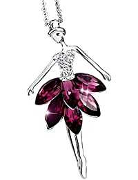 98282d2d3bc9 Kentop Moda Collar con Colgante en Forma de Bailarina Ballet Danza Joyería  de Cristal para Mujeres