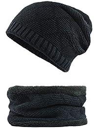 YunYoud Set da uomo e da donna 2 pezzi di soffice berretto invernale a  soffietto con cappello sciarpa 58e15f1cb8c4