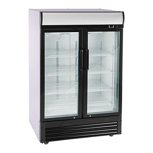 Royal Catering Flaschenkühlschrank Getränkekühlschrank mit Glastür RCGK-W880-2 (880 L, 350 W, 8 Einlagen je 53 x 39,5 cm, selbstschließende Schwenktüren, Temperaturbereich 2–8 °C)
