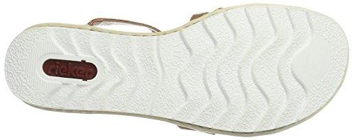 Rieker Damen 63128 Offene Sandalen mit Keilabsatz Braun (cayenne / 24)