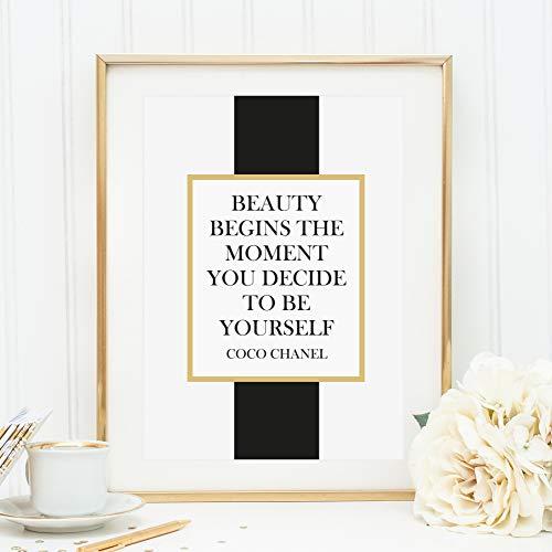 Kunstdruck, Sprüche Poster: Beauty begins the moment you decide to be yourself | Hochwertiges und festes Premiumpapier | Ohne Rahmen