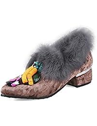 DIMAOL Zapatos de Mujer Velvet Primavera Otoño Comodidad Tacones Chunky Talón Señaló Cordón Toe Para Vestido de...