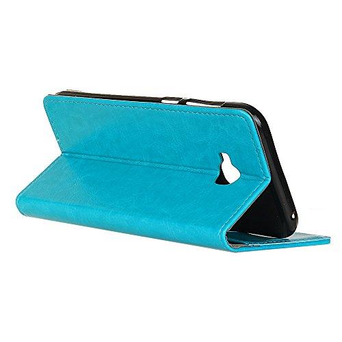 Crytal Grain Texture Solid Color Premium PU Leder Folio Stand Case Geldbörse Tasche Tasche mit Kartensteckplätzen für Asus Zenfone ZD552KL ( Color : Black ) Blue