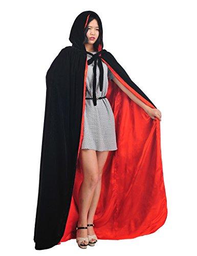 Topwedding Lange Halloween Kostüme Deluxe Samt Kapuze Umhang Weihnachten Cape, schwarz & rot, (Kostüm Deluxe Samt)