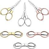 6 Piezas de Tijeras de Acero Inoxidable Plegables Antióxido Mini Cizalla en Forma de Gafas para Uso de Hogar y Viaje (3 Colores)