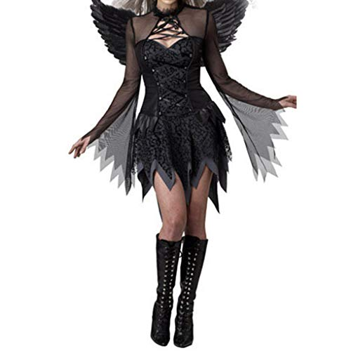 Dunkle Winkel Kostüm - Fangfeen Sexy Halloween Weibliche Kostüm Cosplay Mädchen, Schwarz, Winkel Halloween Frauen kleiden Kostüme erwachsenes Abend dunkle Winkel Partei Kostüme