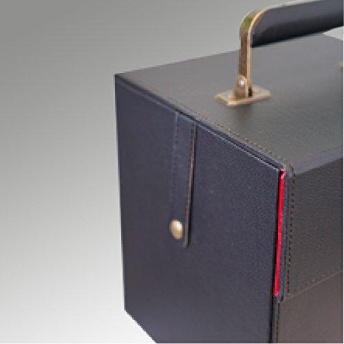 Schallplattenkoffer, schwarz aus Leder