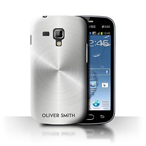 eSwish Personalizzato Effetto Metallo Spazzolato Stampato Custodia/Cover per Samsung Galaxy Trend Plus/S7580 / Argento Metallizzato Design/Iniziale/Nome/Testo Caso/Cassa