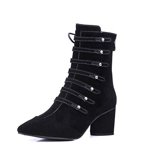 MENGLTX High Heels Sandalen Mode Frauen Mitte Der Wade Stiefel Aus Echtem Leder Herbst Winter Warme High Heels Schuhe Frau Schnallen Dekoration Damen Stiefel 6 Schwarz Kind -