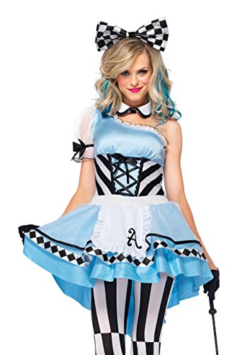 Leg Avenue 85225 - Psychedelic Alice Kostüm Set, 3-teilig, Größe S, blau/weiß, Damen Karneval Fasching