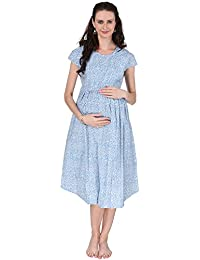 66a7de8408 VIXENWRAP Cute Sky Blue Printed Maternity Dress
