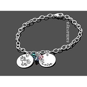 Kinderarmband Gravur EINHORN REGENBOGEN 925 Silberarmband Kinderschmuck Unicorn