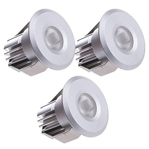 Sensati Kleine Miniatur LED Einbauleuchte Downlight Spot Set zu 3 Stück, dimmbar, 450 lm, inklusive Treiber, Gehäusefarbe silber, kaltweiß T102 3 CW S -