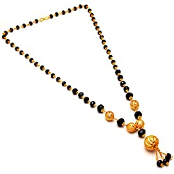 Jewar Gold Black Crystal Gemstones Mangalsutra For Women