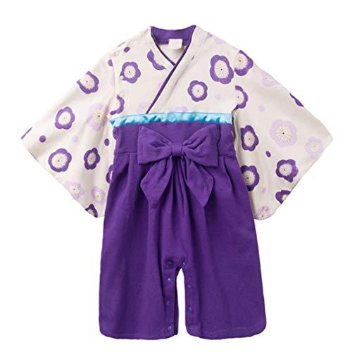 zhbotaolang Baby Kimono Spielanzug Baumwolle Jumpsuit - Kleinkind Lange Ärmel Robe Mädchen Japanischen Stil Outfits (Lila)