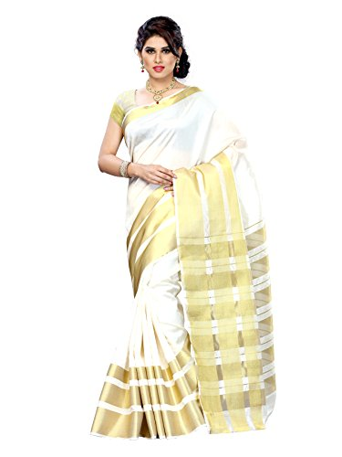 Mimosa Tassar Silk Saree (2069-Tus-Offwt_Off-White)  available at amazon for Rs.849