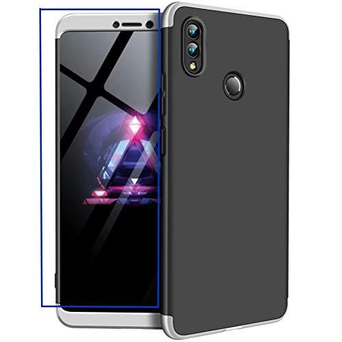 AILZH Huawei Honor Note 10 Hülle+Gehärteter Glasfilm 360 Grad HandyHülle PC Hartschale Anti-Schock Schutzhülle Anti-Kratz Stoßfänger Bumper 360° Cover Case matt Schutzkasten(Silber schwarz)
