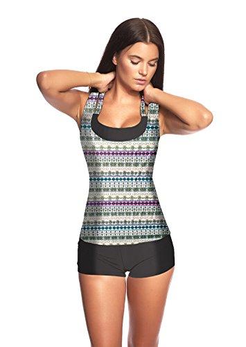 3 tlg. Damen Push up Tankini Set mit Shirt Top Hotpants -Ideal für Strand Sport Yoga Fitness Bikini Badeanzug verschiedene Farben und Größen f5389 3tlg. Set Bunt/Schwarz U(1406F)