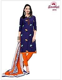 3dd622870d Roha Fab 100% Cotton Printed Dark Blue Orange Combination Salwar Suit  Salwar Suit Material For