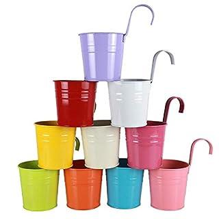Alicemall Metal Iron Flower Pots Hanging with Datachable Handle Garden Bucket Planter Cosmetics Storage Indoor/Outdoor Decor Set of 10 Multicolor (10 Pieces)