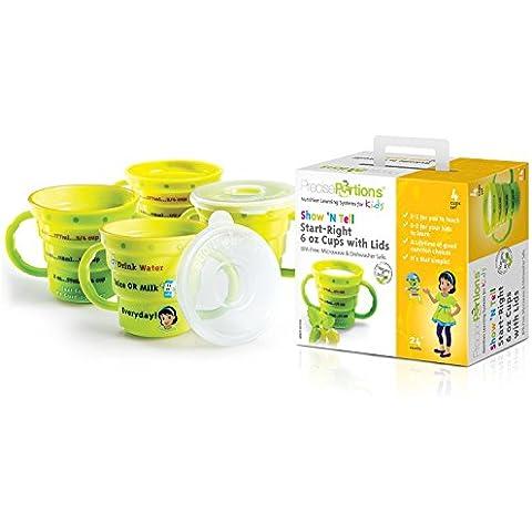 Miglior Aiuto Per il bambino–SHOW N 'tell Nutrition start-right Tazza dal Precise porzioni–Set di 4–kid (Brown Ceramic Bowl)