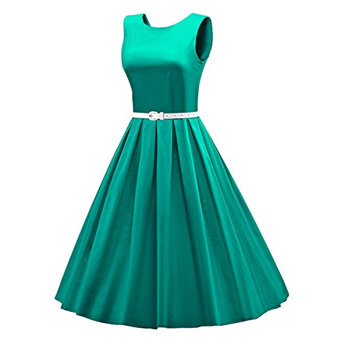 ILover 1950s 60s Femme Vintage Robe Pin-up Dentelle Cocktail Rockabilly Swing Soirée V034-Green1