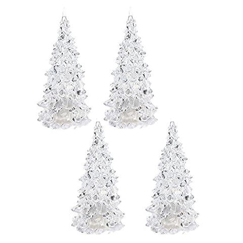SODIAL (R) 4x Farbwechsel LED Kuenstlicher Kristall Weihnachtsbaum-Dekoration XMAS-Nachtlicht