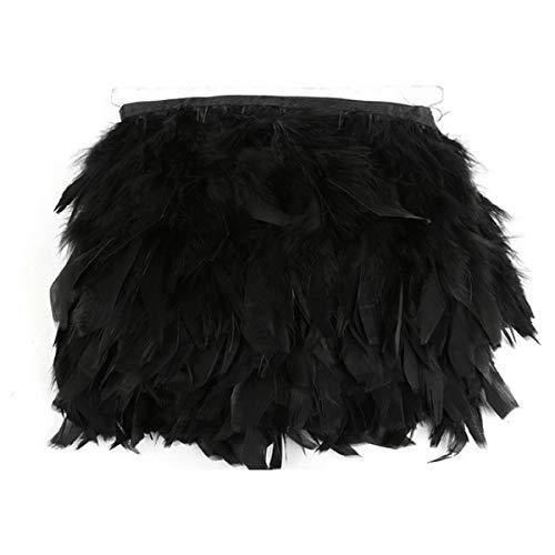 Yalulu 2 Meter Naturfeder Fransenband 10-15 cm für Hochzeitsrock, Kleider, Kleidung, Dekoration DIY Party Schwarz (Straußenfedern Kleid Schwarze)