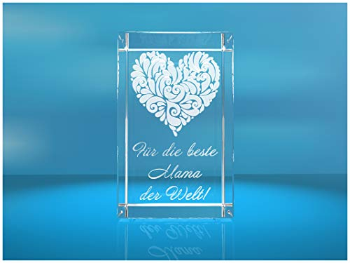 VIP-LASER 3D XL Glas Kristall mit verziertem Herz und Spruch Für die beste Mama der Welt! Gravur
