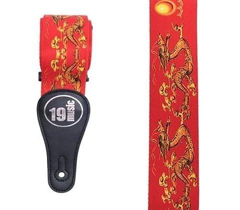 Rouge Dragon de Feu chinois Oriental acoustique électrique réglable Sangle de guitare basse