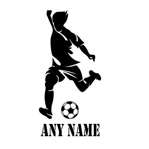 sswymx Personalisierte Jungen Name Wandkunst Aufkleber Fußball Spieler Abnehmbare Vinyl Sport Wandtattoos Wohnkultur Jugendliche Jungen Zimmer 20x42 cm (Halloween Für Fußball-spieler)