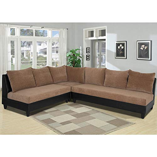 CasaStyle - Nancy Six Seater L-Shaped Sofa (Camel-Black)