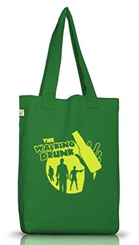 Junggesellenabschieds JGA Hochzeit Jutebeutel Stoffbeutel Earth Positive Bottle The Walking Drunk Moss Green