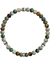 Thomas Sabo Damen-Armband 925 Silber Bambus Tigerauge braun Ovalschliff 20 cm - A1531-929-7-L20