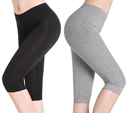CnlanRow Damen Elastisch Unterrock Hose Kurz Capri Leggings Sommer - Ultra Dünn ()